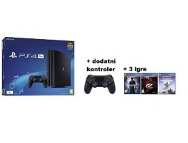 PS4 Pro 1TB G chassis Black + dod Dualshock Controller + 3 igre
