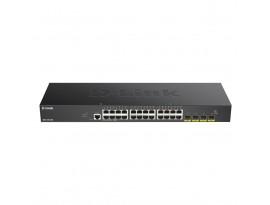 D-Link 28-Port Smart Managed Gigabit Stack Switch (DGS-1250-28XMP) [24-Port Gigabit, PoE+, 370W, 4x SFP+]