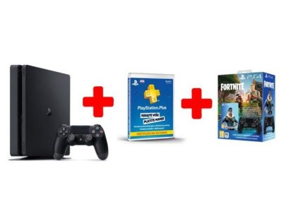 GAM SONY PS4 500GB F Chassis Black+DS+Fortnite VCH+ Plus Card 365 Days 94710