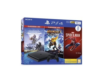 Igraća konzola PlayStation 4 500GB + Marvel's Spiderman/Horizon Zero Dawn Complete Edition/Ratchet and Clank Hits bundle 113790