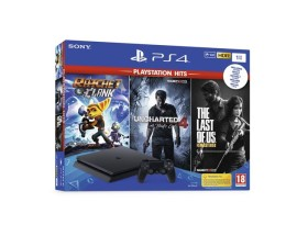 GAM SONY PS4 1TB Slim+Uncharted 4/The Last of Us/Ratchet&Clank