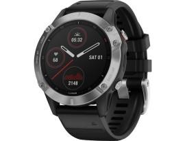 Pametni multisport GPS sat Garmin Fenix 6 Silver crni (crni remen)