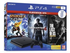 Igrača konzola PlayStation 4 1TB chassis + Ratchet and Clank + The Last of US + Uncharted 4 Hits - novo, zapakirano.