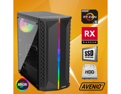 Stolno računalo Avenio OptiGamer AMD Ryzen 5 3400G 3.70GHz 16GB 480GB SSD + 1TB HDD FreeDOS AMD Radeon RX 5600XT 6GB GDDR6 122131