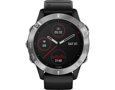 Pametni multisport GPS sat Garmin Fenix 6 Silver crni (crni remen) 112364