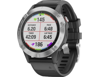 Pametni multisport GPS sat Garmin Fenix 6 Silver crni (crni remen) 112362